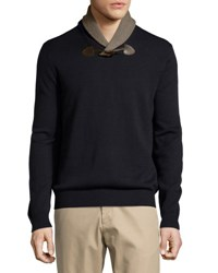 Neiman Marcus Shawl Collar Toggle Sweater Dark Midni