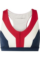 Perfect Moment Vale Rainbow Color Block Stretch Sports Bra Navy