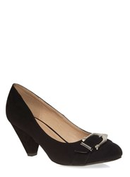 Evans Extra Wide Fit Suedette Buckle Heel Black