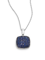 Effy Final Call Diamond Sapphire And 14K White Gold Square Pendant Necklace Blue