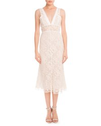 Victoria Beckham Plunging V Neck Sheer Waist Lace Dress Off White