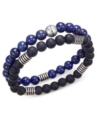 Steve Madden Men's 2 Pc. Stainless Steel Stretch Bead Bracelet Set Black