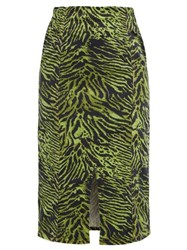 Ganni Tiger Print Stretch Cotton Blend Skirt Green