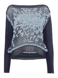 Crea Concept Speckled Knitted Jumper Navy