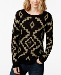 Rampage Juniors' Metallic Printed Pullover Sweater Aztec Print