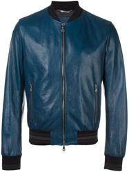 Dolce And Gabbana Leather Bomber Jacket Blue