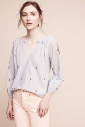 Anthropologie Stitched Lucia Top Blue