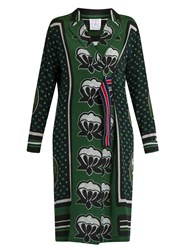 Stella Jean Graphic Print Silk Dress Green Multi