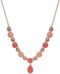 Nine West Colored Stone 16 Lariat Necklace Coral