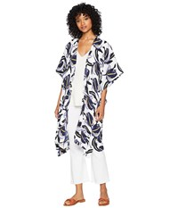 Steve Madden Abstract Floral Print Kimono Black White Clothing