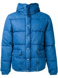 Gold Sugar Cane Denim Down Jacket Blue