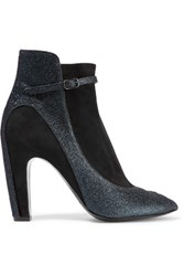 Maison Martin Margiela Glittered Leather Trimmed Suede Ankle Boots Storm Blue