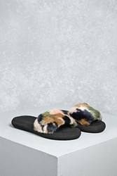 Forever 21 Rocket Dog Faux Fur Slides Black Multi