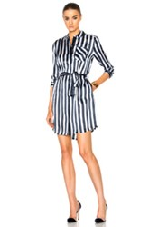 Atm Anthony Thomas Melillo Striped Shirt Dress In Blue Stripes Blue Stripes
