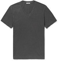 James Perse Slim Fit Combed Cotton Jersey T Shirt Gray
