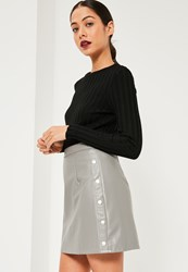 Missguided Grey Popper Side A Line Faux Leather Mini Skirt
