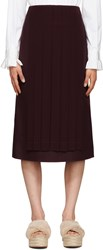 Fendi Burgundy Pleated Panel Skirt