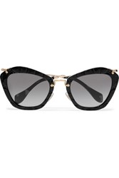 Miu Miu Cat Eye Croc Effect Acetate And Gold Tone Sunglasses Black