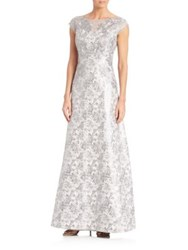 Kay Unger Jacquard Cap Sleeve Gown Silver