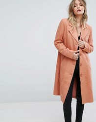 Y.A.S Button Down Pea Coat Pink Red