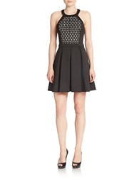 Guess Laser Cut Fit And Flare Dress Black