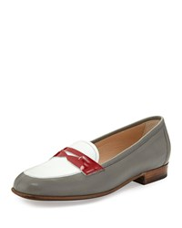 Gravati Colorblock Leather Penny Loafer Gray White Red Size 37.0B 7.0B