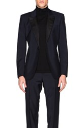 Alexander Mcqueen Satin Lapel Blazer In Blue