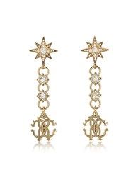 Roberto Cavalli Icon Golden Star Earrings W Crystals