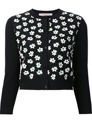 Carolina Herrera Floral Embroidered Cardigan Black