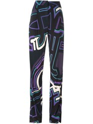 Emilio Pucci Graphic Print Trousers Blue