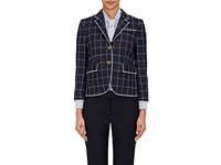 Thom Browne Women's Windowpane Checked Three Button Jacket Navy White Red Navy White Red