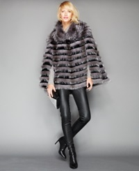 The Fur Vault Fox And Sheared Rabbit Fur Poncho Silver Black