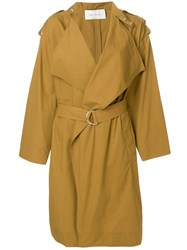 Cedric Charlier Wide Lapel Trench Coat Brown