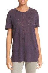 Iro Women's 'Clay' Cutout Linen Tee Plum