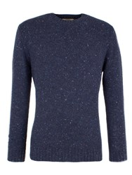 Gibson Men's Chunky Crew Neck Donegal Sweater Blue
