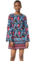 Tanya Taylor Embroidered Floral Irene Dress Black Poppy Multi