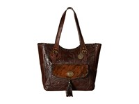 American West Annie's Secret Collection Large Zip Top Tote Chestnut Brown Brindle Hair Tote Handbags