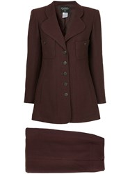 Chanel Vintage Straight Skirt Suit Brown