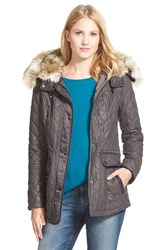 Women's Laundry By Shelli Segal Waxy Twill Quilted Jacket With Faux Fur