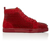 Christian Louboutin Men's Spiked Louis Flat High Top Sneakers Burgundy