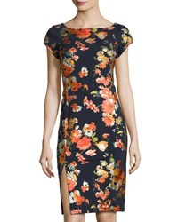 Label By 5Twelve Short Sleeve Foral Print Sheath Dress Nvy Multi