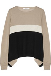Max Mara Color Block Silk And Cashmere Blend Sweater Beige