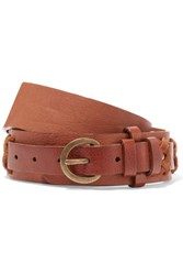 Donna Karan New York Stitched Leather Belt Brown