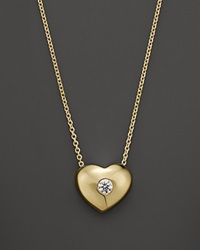 Kc Designs Small Diamond Solitaire Heart Pendant Necklace In 14K Yellow Gold .10 Ct. T.W. White Gold. White Diamonds