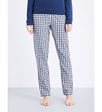 Tommy Hilfiger Checked Woven Cotton Pyjama Bottoms Dress Blues