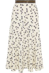 Roksanda Ilincic Moraya Leather Trimmed Printed Silk Crepe De Chine Midi Skirt Ivory