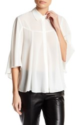 English Factory Woven Batwing Blouse White
