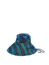Lola Hats Georges Checked Cotton Bucket Hat Blue