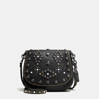 Coach Western Rivets Saddle Bag 23 In Glovetanned Leather Black Copper Black