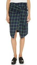 J.O.A. Front Tie Check Wrap Skirt Navy